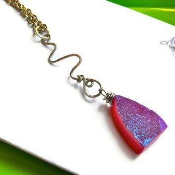 ROCK CANDY Necklace - hot pink & purple druzy stone on textured silver swirl, gemstone jewelry made in Hawaii