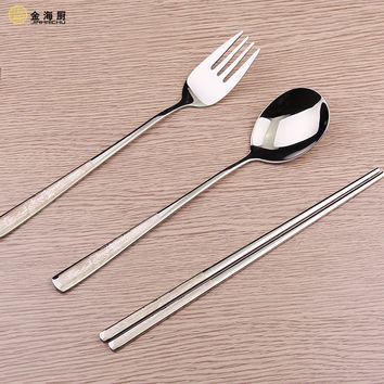 Stainless steel flatware set chopsticks fork spoon chop sticks korean style cutlery set fourchette cuiller baguettes bestekset 9