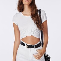 Missguided - Capped Sleeve Knot Crop Top White