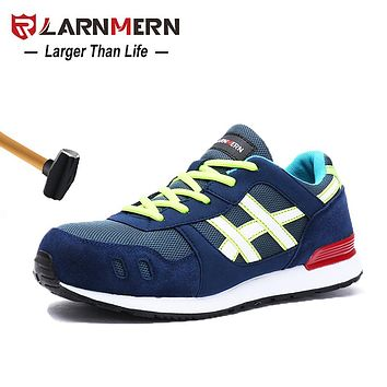 LARNMERN Steel Toe Work Safety Shoes Lightweight Breathable Anti-smashing Construction Protective Footwear
