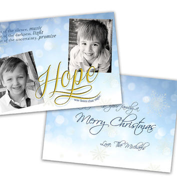 Religious Photo Christmas Cards - Hope Religious Holiday Cards - Gold Hope Was Born Christmas Card Set - Religious Holiday Cards -  Hope