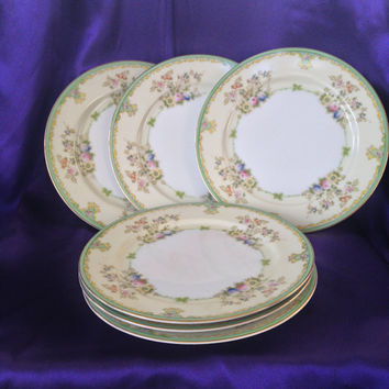 Meito NSP Japan Salad Plates, Set of Four, Vintage Nagoya Seito Porcelain, 1940s, 50s, Hand Painted Floral Dinnerware, MEI345 Pattern