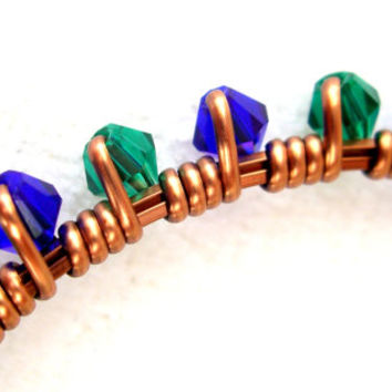 Copper Bangle Bracelet Antique Swarovski Crystal Emerald Sapphire Wire Wrapped