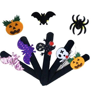 2pcs Halloween Patted Circle Clap Ring Halloween Kids Masquerade Party performance Pumpkin Witch Ghost Bat Bracelet Ornament A40