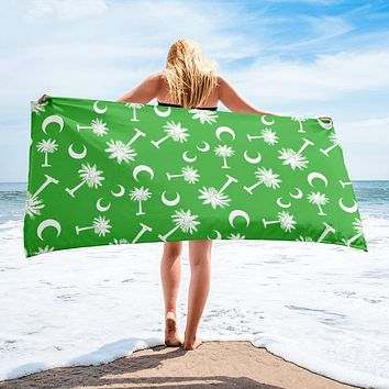 South Carolina Palmetto Moon Beach Towel LIME GREEN