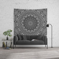 Zen Black and white mandala Sophisticated ornament Wall Tapestry by maria_so