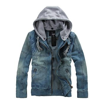 2016 Autumn Mens Denim Jacket Retro Slim hooded Outwear Casual Jeans Hoodies Cowboy Mens Jacket and Coat Plus Size 4XL 5XL