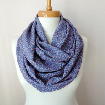 Infinity Circle Geometric Pattern Scarf, Blue and Pink Fashion Scarves, Women's Fashion Accessories