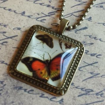 "Victorian Butterflies Steampunk Square Antiqued Brass Glass 27"" Long Necklace"