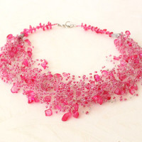 Pink beaded wedding airy crocheted necklace. Wedding. Multistrand Necklace. Beadwork. Beaded Jewelry, Ready to ship.