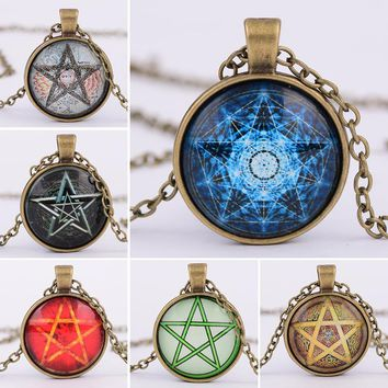 OMENG New arrival Pentacle Wicca Pendant Necklace Wiccan Jewelry Occult Charm Pentagram glass dome pendant necklace XL384