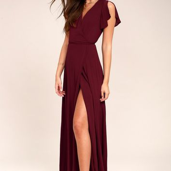 Heart of Marigold Burgundy Wrap Maxi Dress