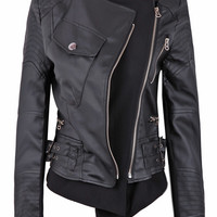 Black Zipper Embellished Faux Leather Biker Jacket - Sheinside.com