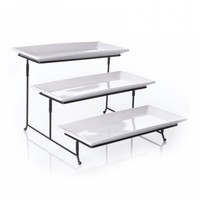 Gibson Elite Gracious Dining 3 Tier Plate Set with Metal Stand - Walmart.com