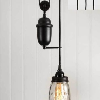 Clear Glass Quart Mason Jar Pulldown Pendant Lamp