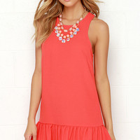 Frill of the Chase Coral Dress