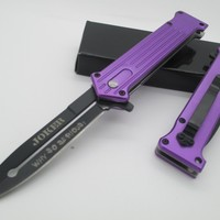 "1 X Tac Force Assisted Opening Folding ""Why So Serious?"" Joker Purple Knife NEW!!!"
