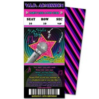 Girl Pop Star Birthday Invitations - Neon Pop Star Admission Ticket Invites - Vip Invitations - Pink Karaoke Birthday Invitations - Rockstar