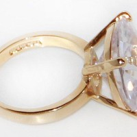 Oversized Special Cut Solitaire CZ Fashion Ring in Gold Tone