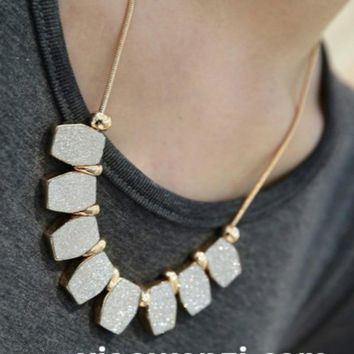 New Fashion Elegant Necklace Women,Unique Irregular Shape Matte Polish Pendant Necklaces,Long Neckless Women Neckless Men
