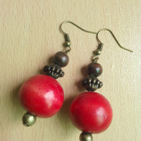 Red earrings, wooden beads, brass tone, matching earrings, hand made, party, bridal, bridesmaid, everyday jewelry, yellow, green, brown