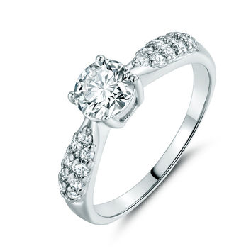 Studded Crystal Engagement Ring