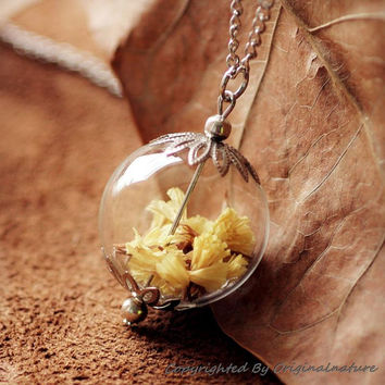 Nature Inspired Jewelry Real Dried Clover Necklace Pendant Gift (HM0075)