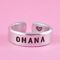 [♡042] ohana - Hand Stamped Ring, Family Ring, Aerial Font Verson