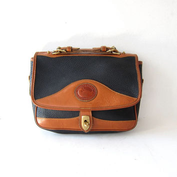 Vintage Dooney and Bourke purse. Leather briefcase purse. Top handle bag. Shoulder bag. Crossbody purse.