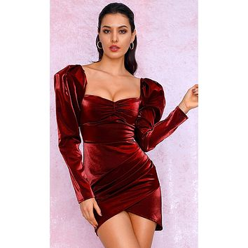 Mystery Woman Deep Red Metallic Long Sleeve Puff Shoulder Sweetheart Neck Ruched Tulip Bodycon Mini Dress