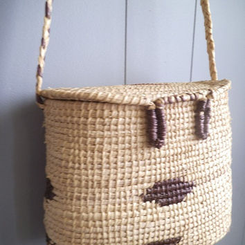 Vintage woven basket Creel Style Indian Southwestern BOHO Shoulder bag