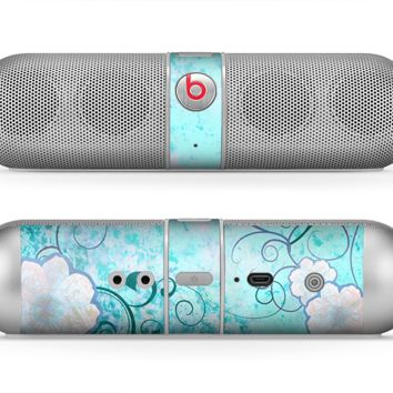 The Subtle Blue & Pink Grunge Floral Skin for the Beats by Dre Pill Bluetooth Speaker