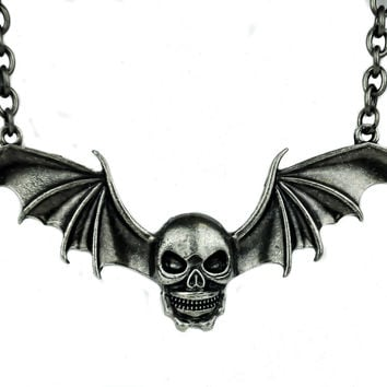 Bat Wing Skull Necklace Black Death Metal Goth Vamp