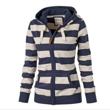 Large size Stripe Hooded Sweater  B0016473