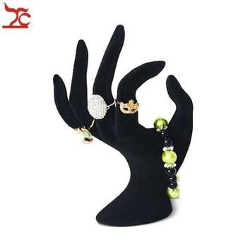 ESBON Lady OK Shaped Hand Jewelry Display Stand Black Velvet Hand Model Ring Bracelet Bangle Necklace Hanging Organizer Stand 11*17cm