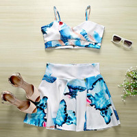 Print Cami and Skirt Two Piece Sets B0013880