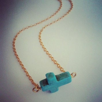 Turquoise Sideways Cross Necklace Side Ways Bead by Azeetadesigns