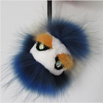 BEADY FUR MONSTER BAG CHARM - BILLY BLUE