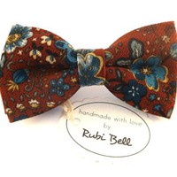 Bow Tie - floral bow tie - wedding bow tie - brown bow tie with blue flowers - grooms bow tie