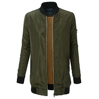 LE3NO Womens Lightweight Long Military Bomber Jacket with Pockets