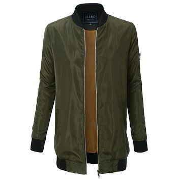 Lightweight Long Military Bomber Jacket with Pockets (CLEARANCE)