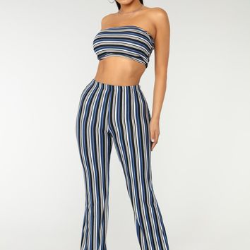 Stripe Up Ribbed Set - Blue Multi