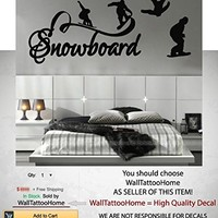 Snowboard Sport Wall Decal Stickers Decor for Bedroom Vinyl Extreme Snowboarding Nursery Kids Room Mural Art MS778 (10 x 22)