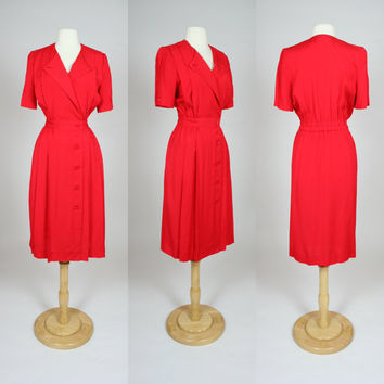 1980's red dress, short sleeve secretary office dress, Albert Nipon fitted waist dress, petite medium, US 8