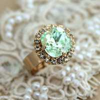 Mint Gold adjustable ring clear green - 14k 1 Micron thick plated gold adjustable ring real swarovski rhinestones.
