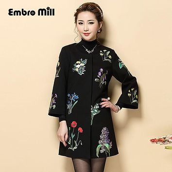 Vintage royal embroidery Winter coats woman new arrival Chinese style runway lady elegant plus size black trench coat M-4XL