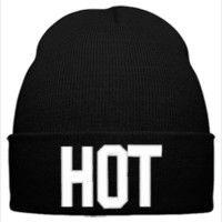 HOT EMBROIDERY HAT - Beanie Cuffed Knit Cap