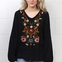 Embroidery Style Loose Fit Linen Blouse {Black}