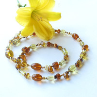 Beaded glass necklace - sparkling amber, topaz and honey glass beads, faux pearls, crystals