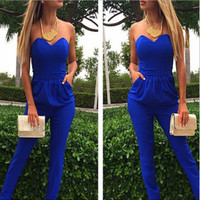 Blue leakage shoulder pocket sexy jumpsuits that wipe a bosom